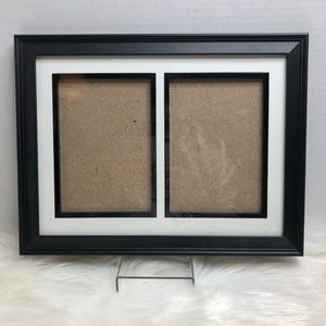 Double Picture 5x7 Black Photo Frame w/ White Mat